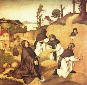 Pious Cistercians monks going about their work in the fields, by Jörg Breu the Elder