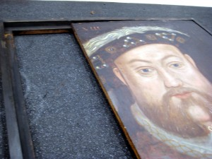 Henry VIII being removed from wooden surround